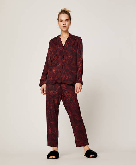 Burgundy snake print trousers