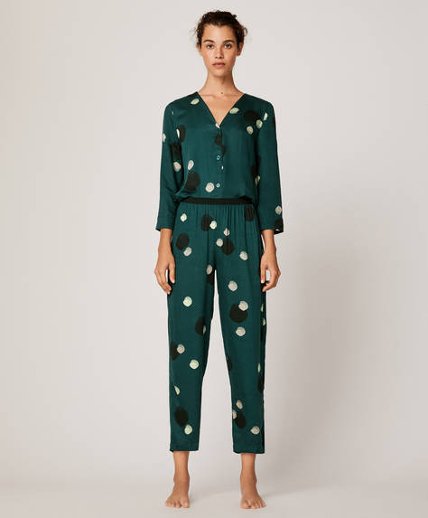 Green spot trousers
