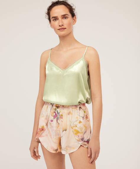 Pantalon court à fleurs multicolores