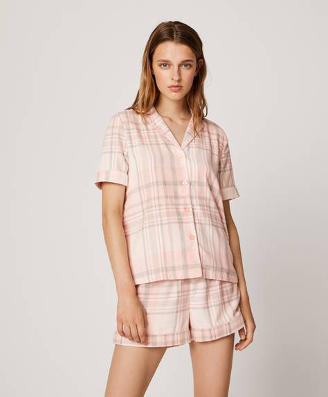 Pink cotton check shorts