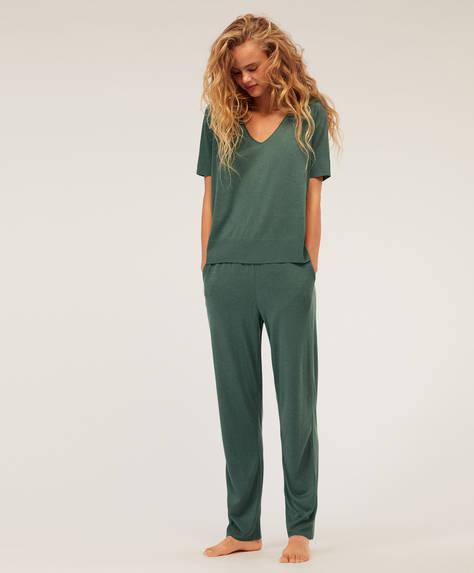Pantalon long uni vert