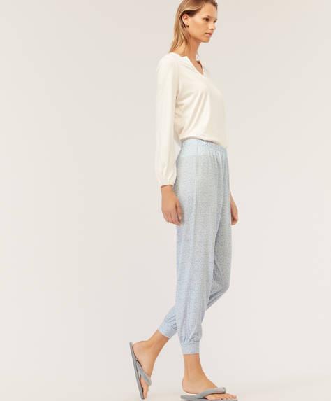 Blue floral trousers