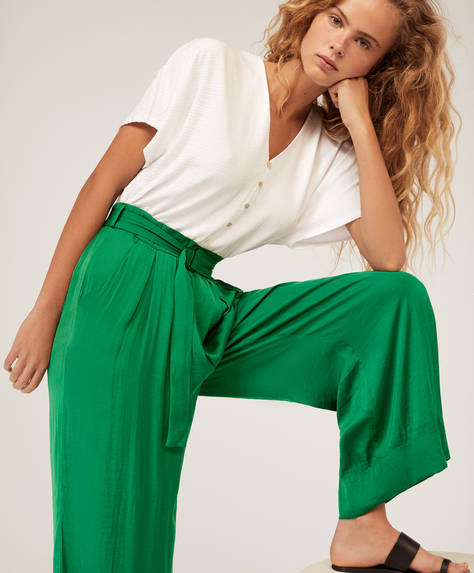 Satin-finish trousers