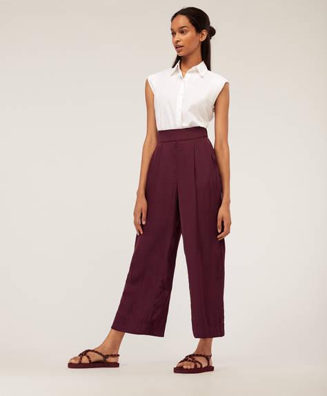 Straight satin-finish trousers