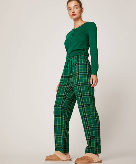 Green check trousers