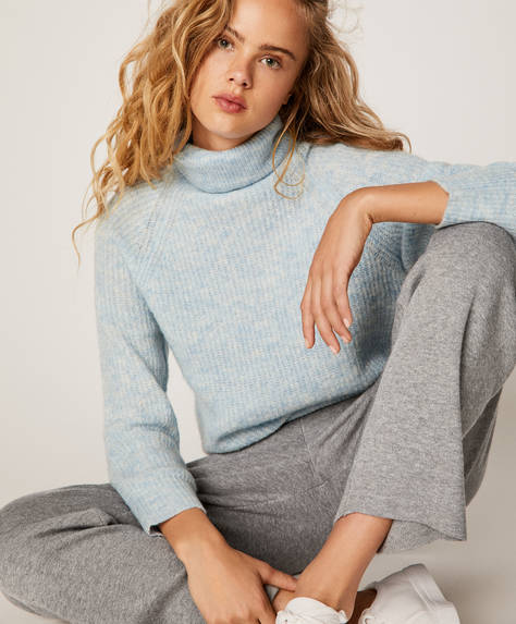 Pearl-knit high-neck jumper