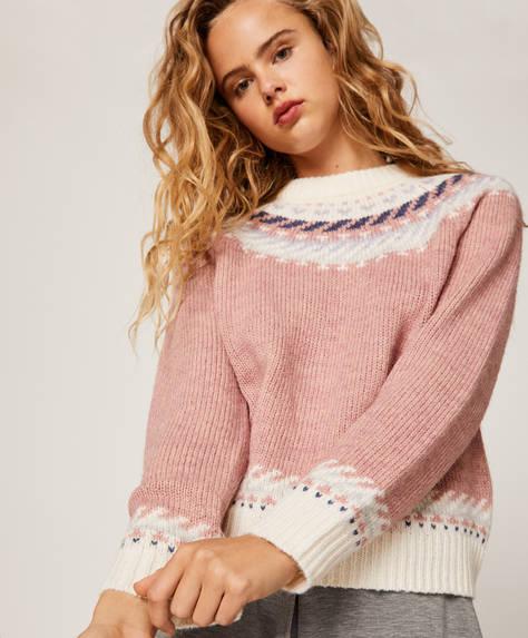 Jacquard-Pullover in Pastellfarben