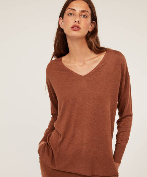 Plain jumper with cashmere
