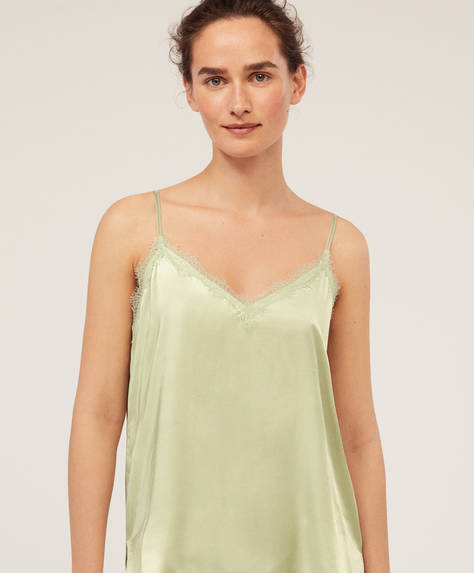 Sateen-trimmed top with thin straps