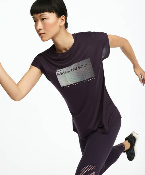 Purple Tencel® iridescent slogan T-shirt