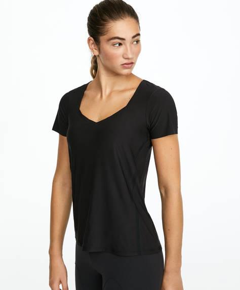 V-neck mesh T-shirt