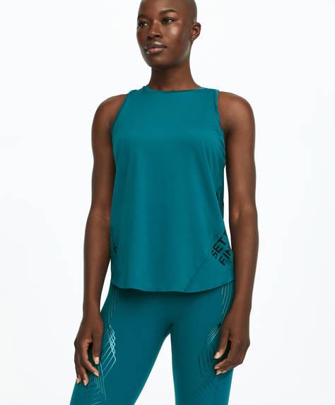 Sleeveless mesh slogan T-shirt
