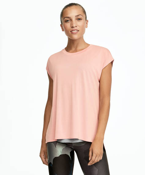 T-shirt double en modal rose