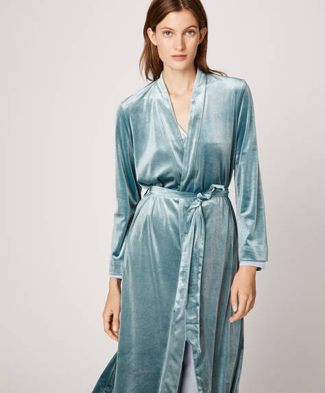 Greyish blue velvet bath robe