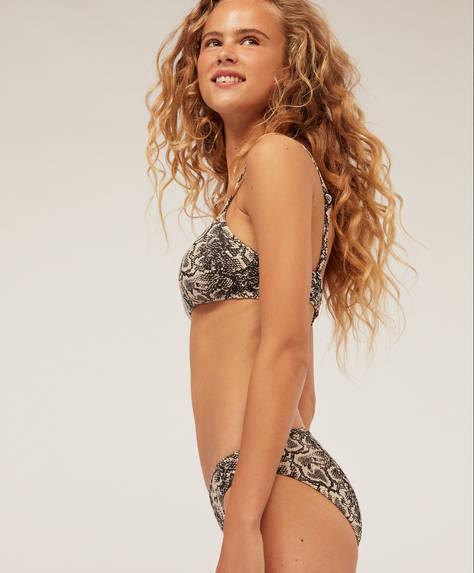 Classic bikini briefs with snake print