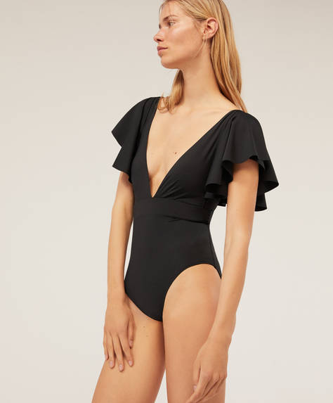 Frill triangle bathing suit