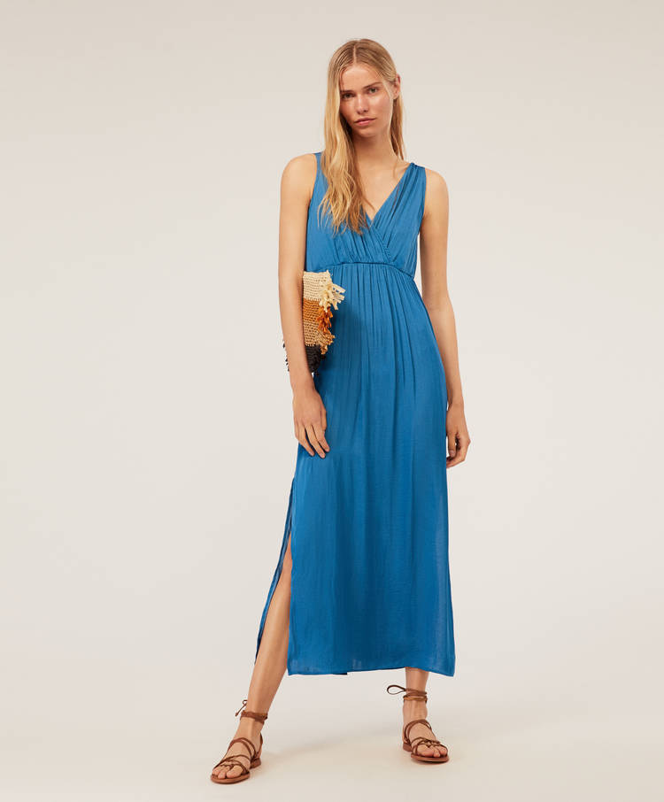 488b5641cbe6 Μακρύ φόρεμα με κρουαζέ ντεκολτέ σατινέ - Φορέματα - Φορέματα και ...