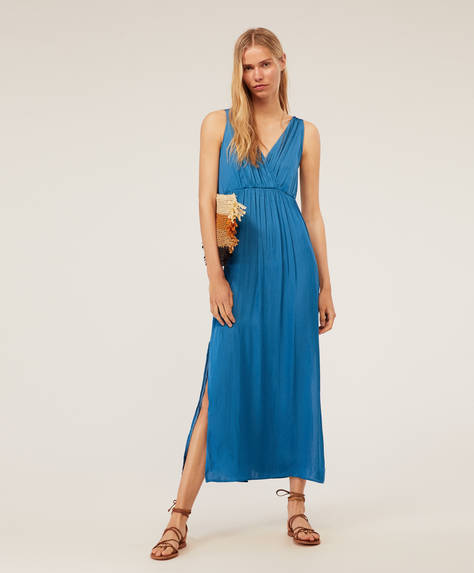 Long satin dress with crossover neckline