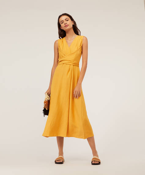 Yellow crossover midi dress