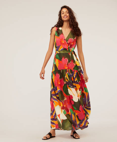 Tropical floral midi dress