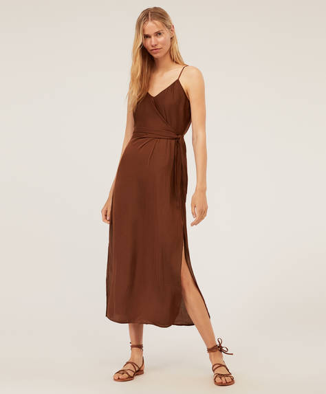 Satin knot midi dress