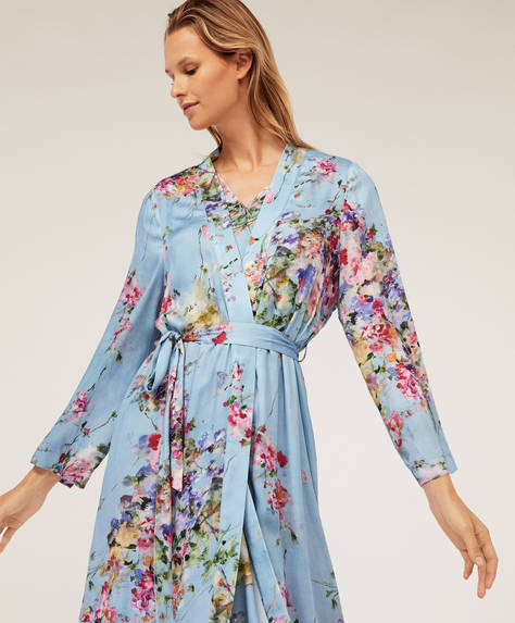 Blue petals bath robe