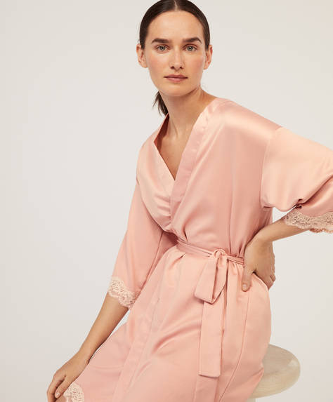 Lace satin bath robe
