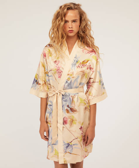 Floral satin bath robe