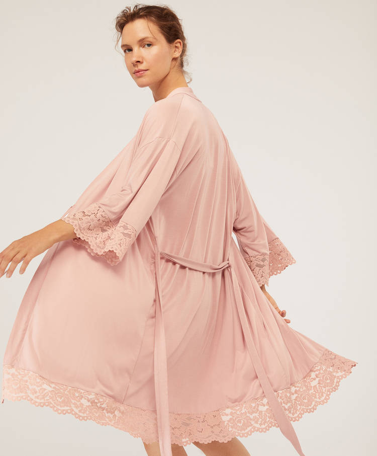 105bb66b29 Modal and lace maternity kimono - Lingerie dressing gowns - Lingerie ...
