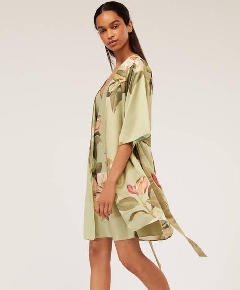 Déshabillé kimono en satin à imprimé magnolia