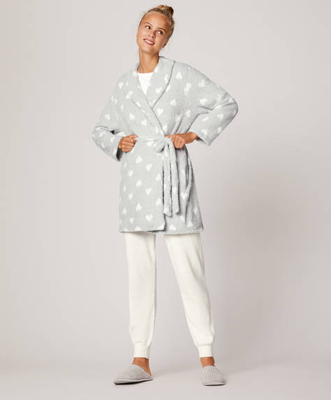 Fluffy bath robe with hearts