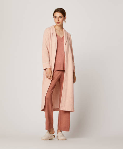 Pink piqué effect long bath robe