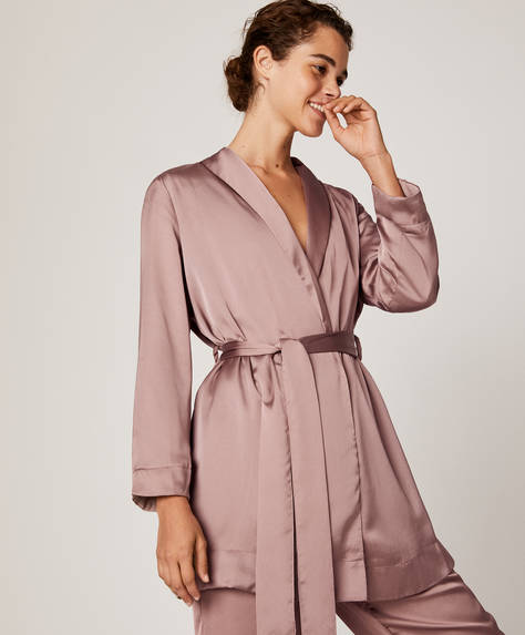 Satin wrap bath robe