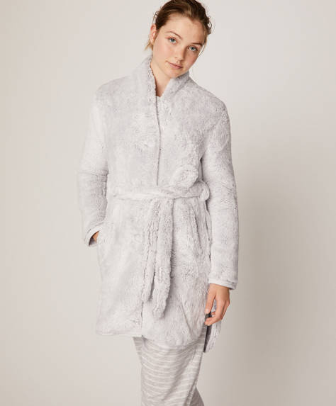 Plain fleece bath robe