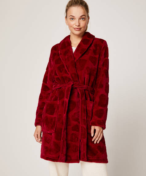 Red heart bath robe