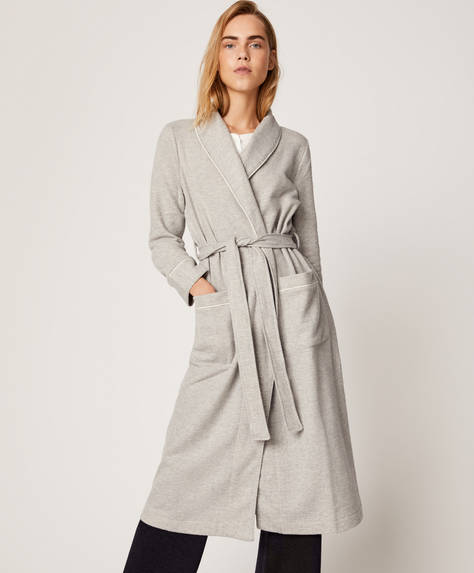 Long grey bath robe