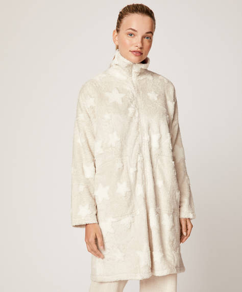 Jacquard star zip-through bath robe