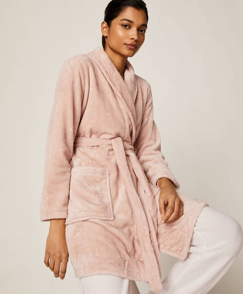 Pink polka dot bath robe