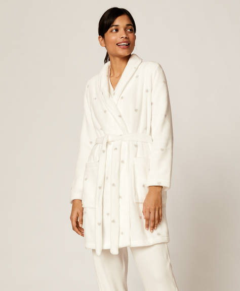 White bath robe with hearts