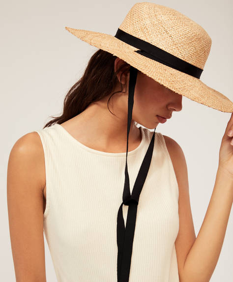 Black ribbon sun hat