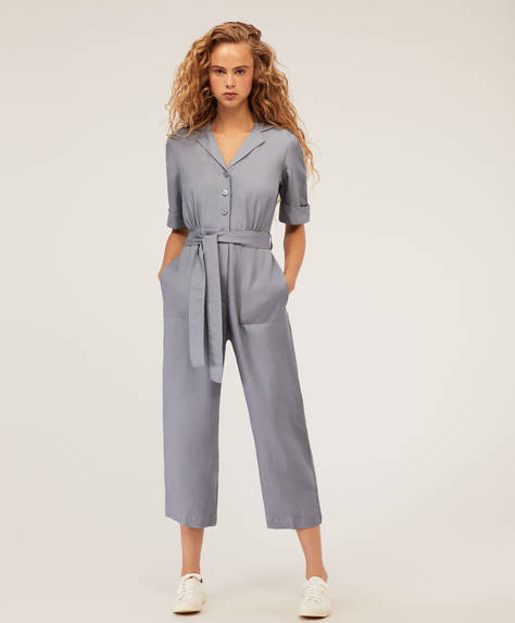 Blue linen jumpsuit