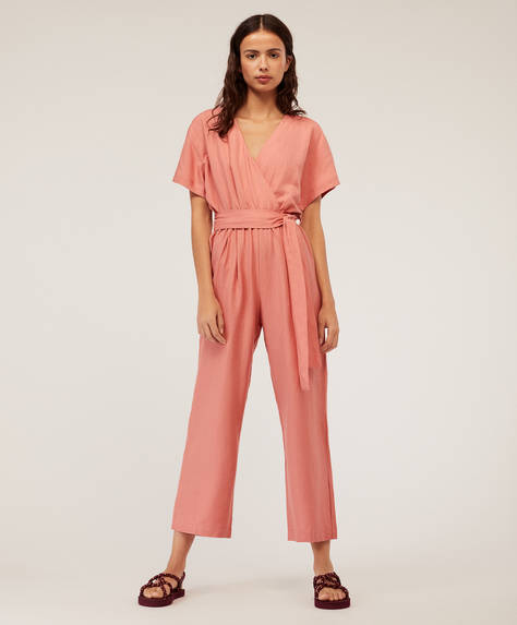 Pink linen crossover jumpsuit