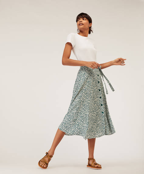 Two-tone ditsy floral skirt