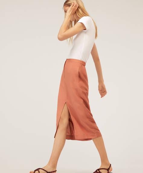 Lniana spódnica średniej długości