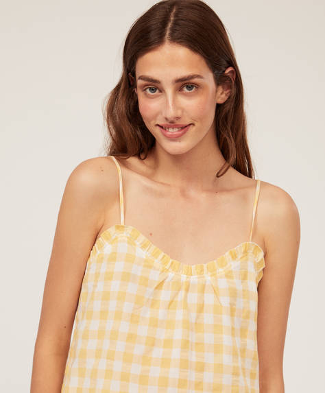 Strappy yellow gingham check top
