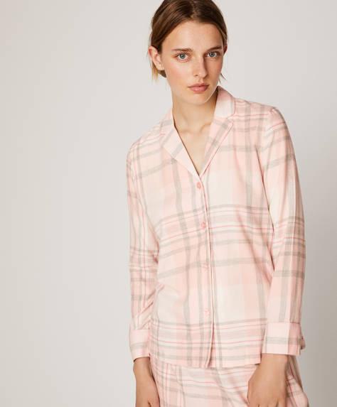 Lyserød ternet skjorte
