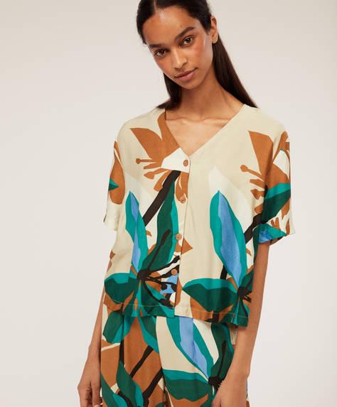 Camisa com estampado de flores em tom esmeralda