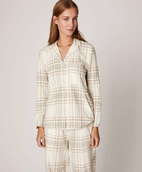 Mink ecru check shirt
