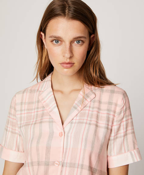 Pink cotton check shirt