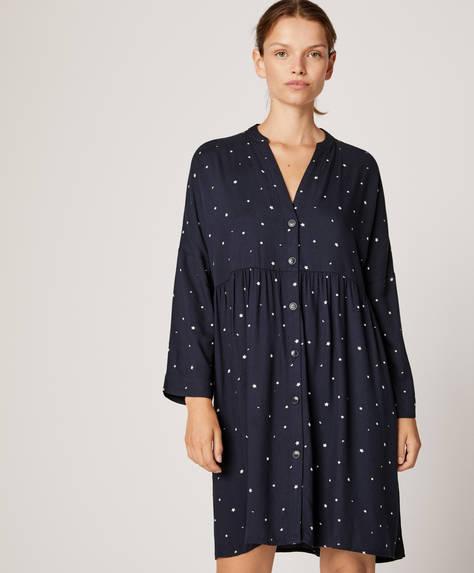Темно-синяя ночная рубашка с принтом «Звезды»